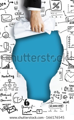 hand tears white page with drawing business concept - stock photo