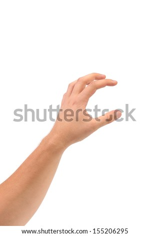 Hand that can hold something. Isolated on a white background. - stock photo
