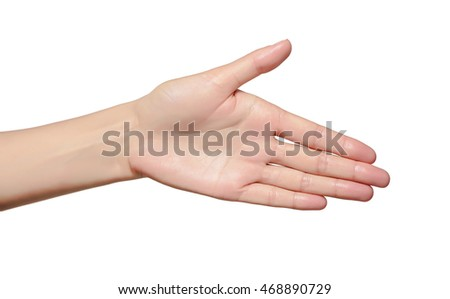 Hand the outstretched in greeting isolated on a white background