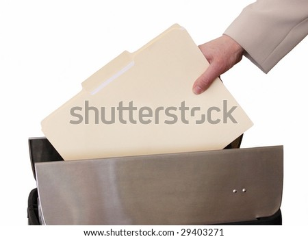 hand throwing file in trash - stock photo