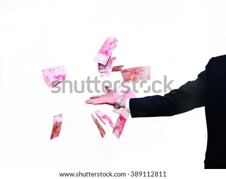 Hand Throwing Money Or Bank Notes With White Background. - stock photo