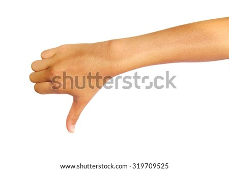 Hand thumb down isolated on a white background. Rejection symbol - stock photo