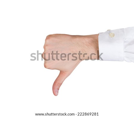 Hand thumb down. Isolated on white background. - stock photo