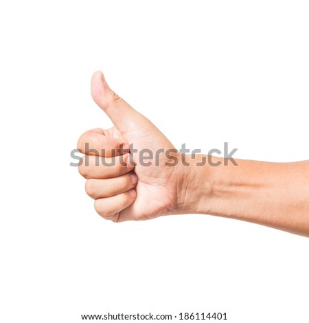 hand thumb up like concept isolated on white background with clipping path - stock photo