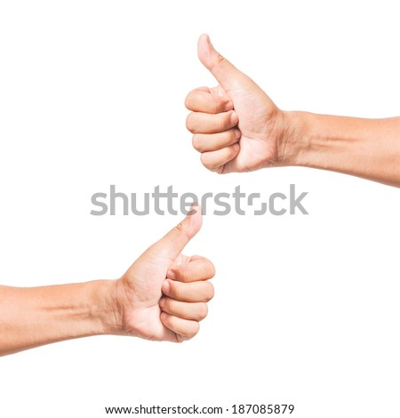 hand thumb up like  isolated on white background use for success concept