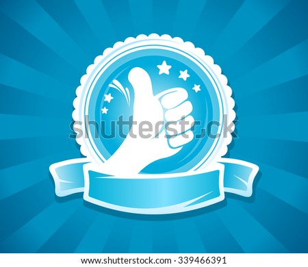 Hand thumbs up emlbem for best of the best with place for text on a ribbon, rastrized version. - stock photo