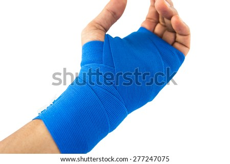 Hand tied blue elastic bandage on a white background
