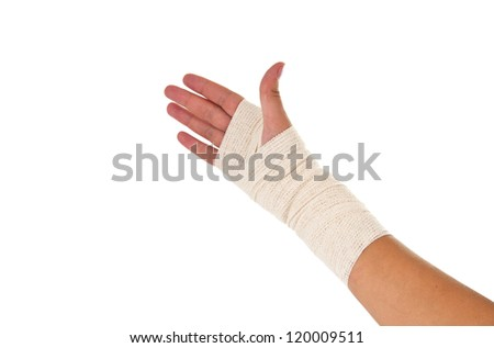 Hand tied elastic bandage on a white background