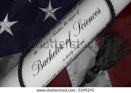 Hand tinted Bachelor of Sciences Degree with Patriotic background - stock photo