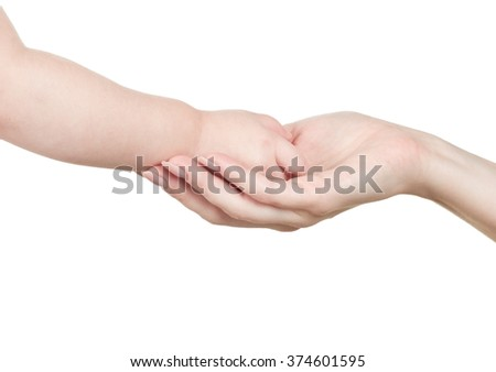 hand to a child isolated on white background - stock photo