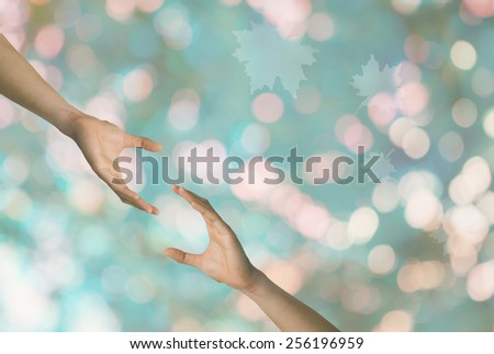 Hand to and support each other. - stock photo