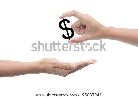 hand to hand money pass  - stock photo