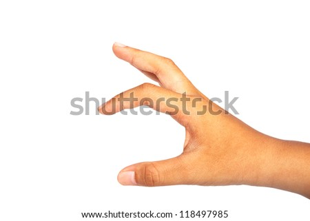 hand to hold  isolated on white background