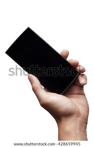 Hand to hold mobile phone isolated on white background. High resolution - stock photo