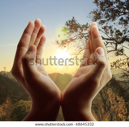 Hand to the sky - stock photo