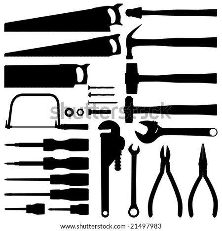 Hand tool silhouette collection raster - stock photo