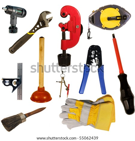hand tools collection isolated over white background