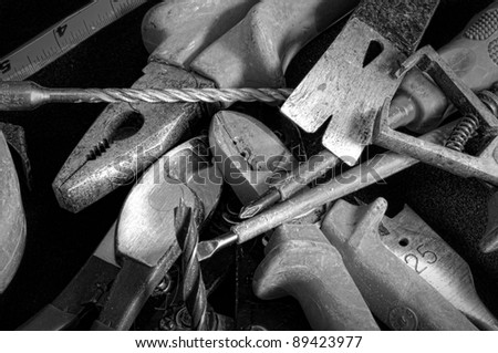 hand tools in black and white grunge
