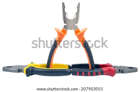 hand tools isolated on white background - stock photo