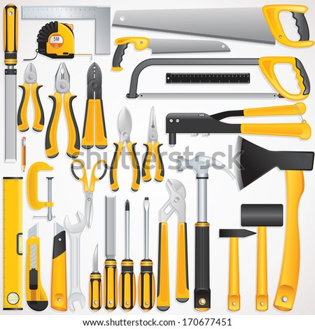 Hand Tools Kit. Set Include Fastening, Finishing, Layout, Striking ,Cutting Tools and Measuring Tools. - stock photo