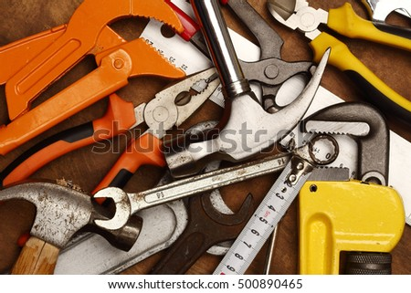 Hand tools  on a workbench