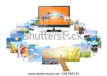 Hand touch media on flat screen tv.