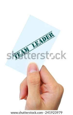 hand touch name card team leader background