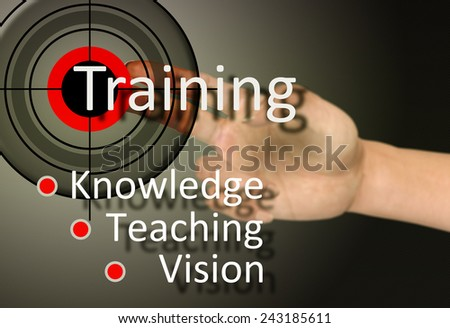 Hand touch on training concept  - stock photo