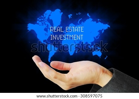 hand touch real estate investment  technology background  - stock photo