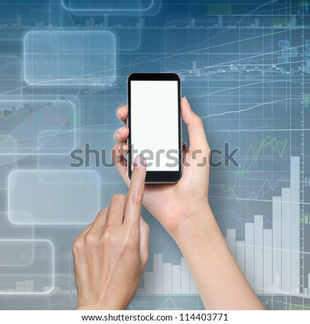 hand touch screen on cellphone - stock photo