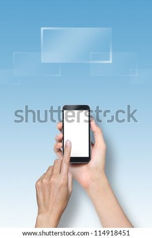 hand touch screen on smartphone - stock photo