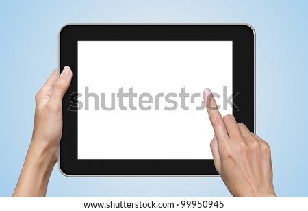 hand touch screen on tablet pc, blue background.