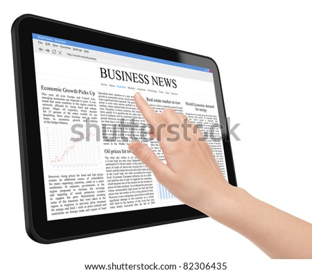 Hand touch screen on tablet pc with business news. Include clipping path for tablet, screen and hand. Isolated on white. - stock photo