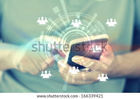hand touch social media,social network concept  - stock photo