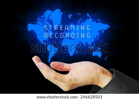 Hand touch streaming recording technology background - stock photo