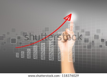 Hand touch virtual graph,chart, diagram - stock photo