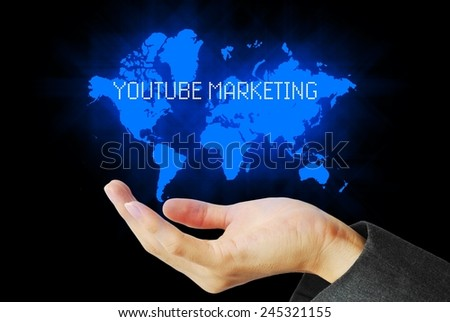 hand touch youtube marketing technology background - stock photo