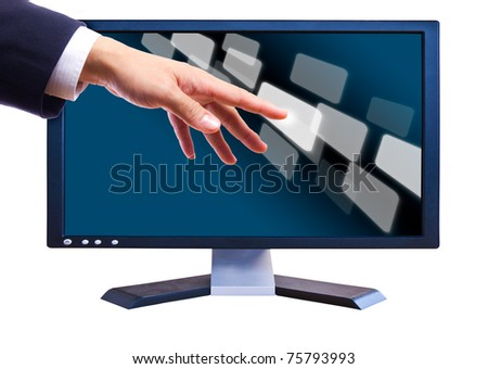 hand touching button  on LCD screen - stock photo