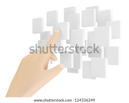 Hand Touching Cloud of Blank Screen Interface isolated on white background - stock photo
