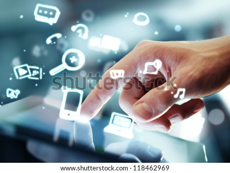 hand touching digital tablet, social media concept - stock photo