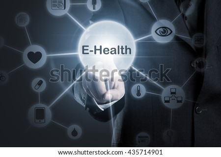 Hand touching E-Health symbol connected to health, medical and technology symbols