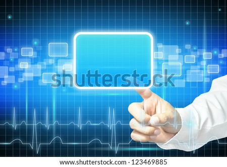 Hand touching empty virtual screen - modern medical  background