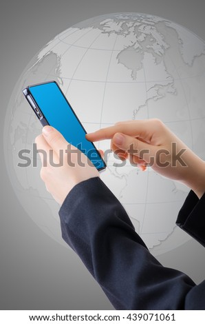 Hand touching on Cell phone, isolated on the white background. - stock photo