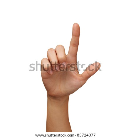 hand touching on the screen isolated - stock photo