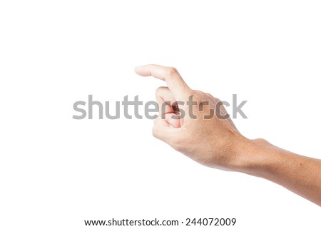 hand touching or pointing to something ,male hand asia people  isolated on white background - stock photo