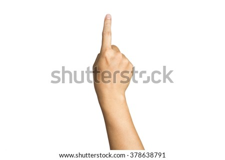 hand touching screen  ,Closeup of male hand pointing. Isolated on white background - stock photo