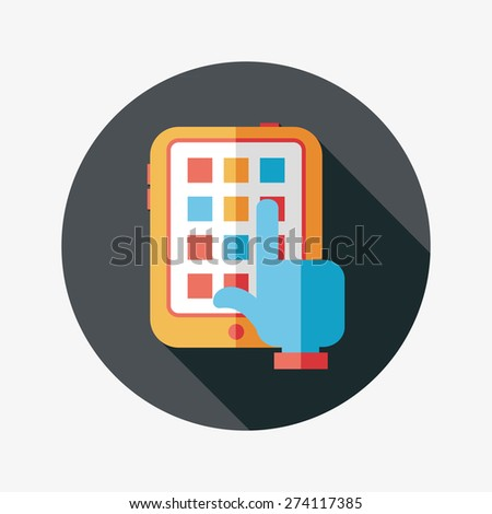 hand touching screen flat icon with long shadow - stock photo