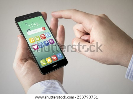 hand touching screen on modern mobile smart phone with colorful interface - stock photo