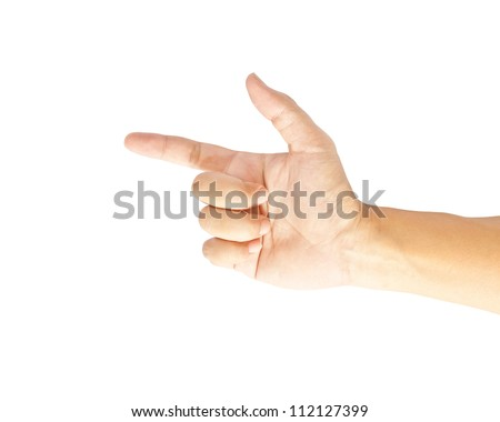 Hand touching screen on white background