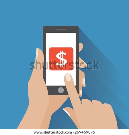 Hand touching smartphone with dollar sign on the screen. Using mobile smart phone, flat design concept - stock photo